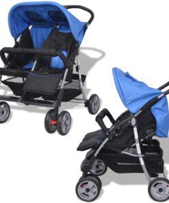 vidaXL tvillingeklapvogn stål blå og sort