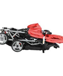 vidaXL søskendeklapvogn stål rød og sort