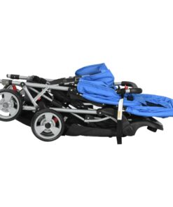 vidaXL søskendeklapvogn stål blå og sort