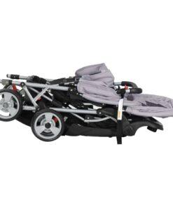 vidaXL søskendeklapvogn stål grå og sort