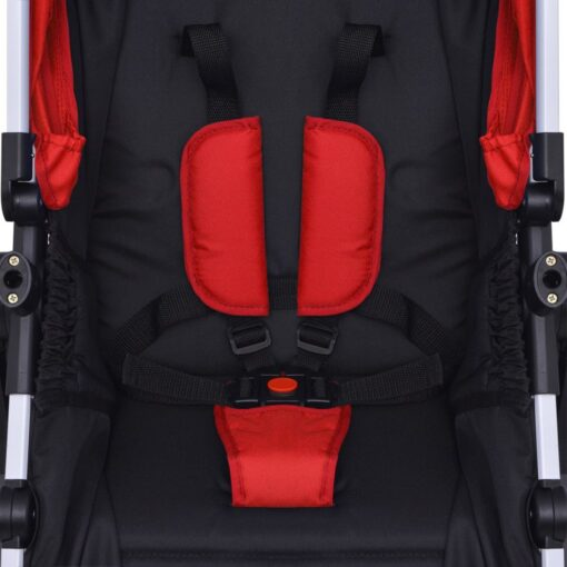vidaXL 3-i-1 klapvogn aluminium rød og sort