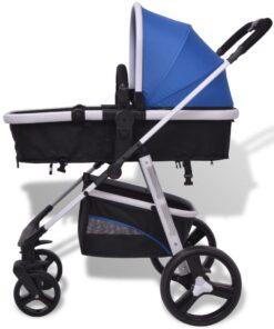 vidaXL 3-i-1 klapvogn aluminium blå og sort
