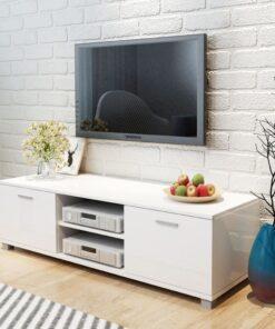 vidaXL tv-bord 140×40,3×34,7 cm højglanshvid