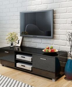 vidaXL tv-bord 140×40,3×34,7 cm sort højglans