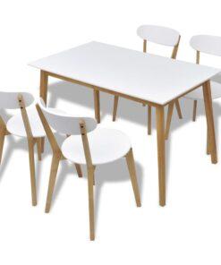 vidaXL spisebordssæt i MDF og birk i 5 dele