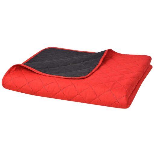 vidaXL dobbeltsidet polstret sengetæppe rød og sort 220 x 240 cm