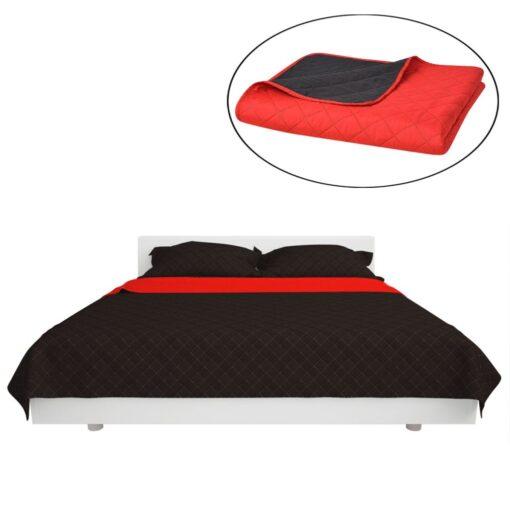 vidaXL dobbeltsidet polstret sengetæppe rød og sort 230 x 260 cm