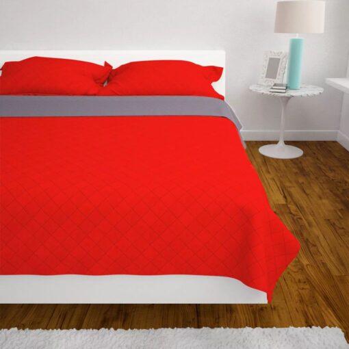 vidaXL dobbeltsidet polstret sengetæppe rød og grå 170×210 cm