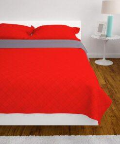 vidaXL dobbeltsidet polstret sengetæppe rød og grå 230×260 cm