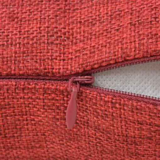 vidaXL 4 stk. pudebetræk linned-look bordeaux 80×80 cm