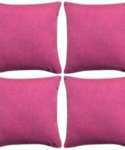 vidaXL pudebetræk 4 stk. linned-look pink 50×50 cm
