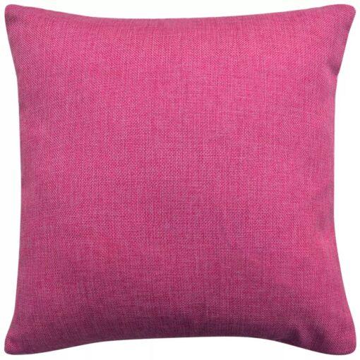 vidaXL 4 stk. pudebetræk linned-look pink 80×80 cm