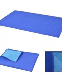 vidaXL picnictæppe blåt og lyseblåt 100×150 cm