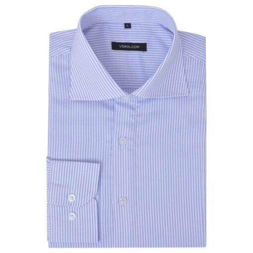 vidaXL businessherreskjorte stribet hvid og lyseblå str. S