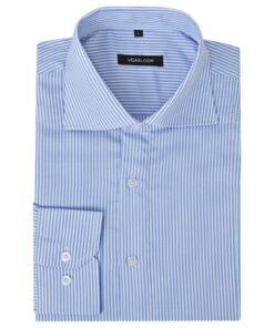 vidaXL businessherreskjorte stribet hvid og blå str. XXL
