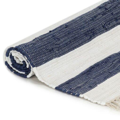 vidaXL håndvævet chindi-tæppe bomuld 120 x 170 cm blå og hvid