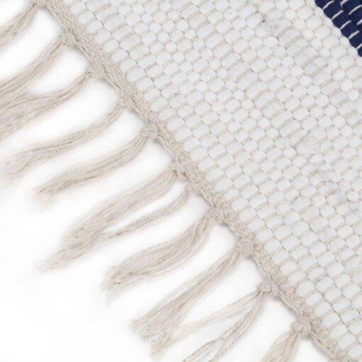 vidaXL håndvævet chindi-tæppe bomuld 160 x 230 cm blå og hvid