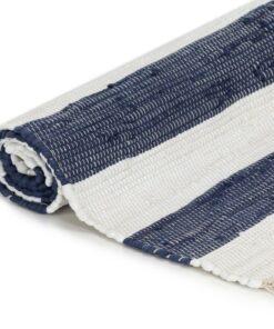 vidaXL håndvævet chindi-tæppe bomuld 200 x 290 cm blå og hvid