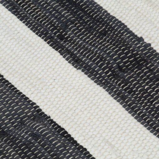 vidaXL håndvævet chindi-tæppe bomuld 80 x 160 cm antracitgrå og hvid
