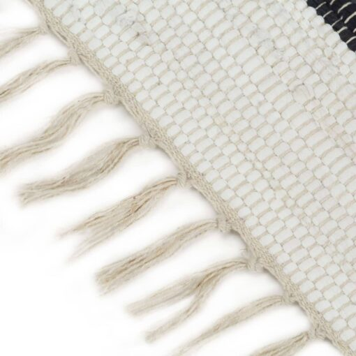 vidaXL håndvævet chindi-tæppe bomuld 200 x 290 cm antracitgrå og hvid