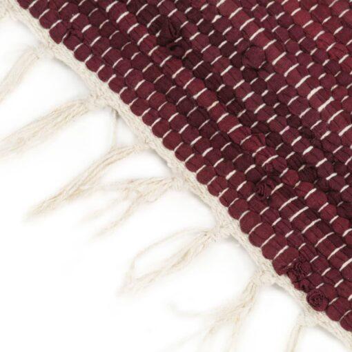 vidaXL håndvævet chindi-tæppe bomuld 120 x 170 cm bordeaux og hvid