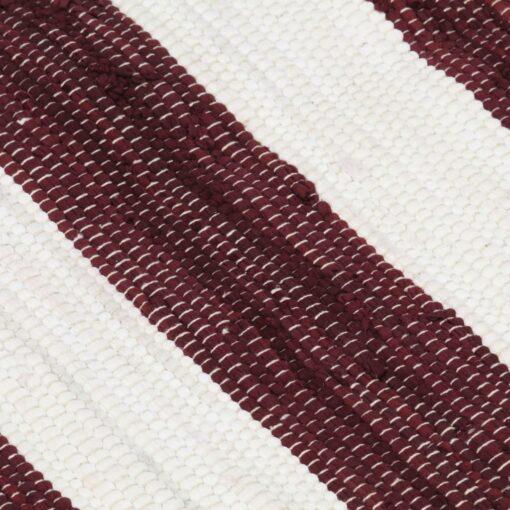vidaXL håndvævet chindi-tæppe bomuld 160 x 230 cm bordeaux og hvid