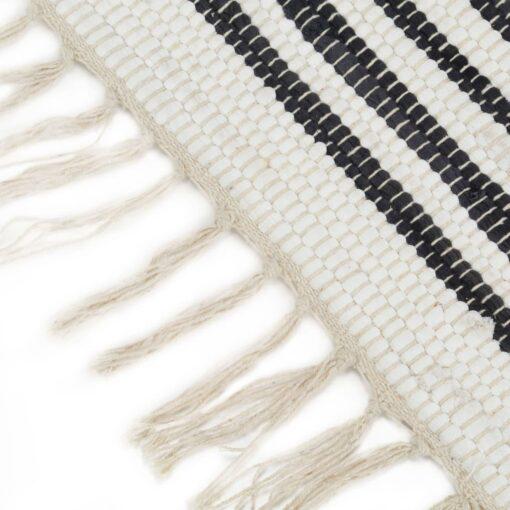 vidaXL håndvævet chindi-tæppe bomuld 120 x 170 cm antracitgrå og hvid