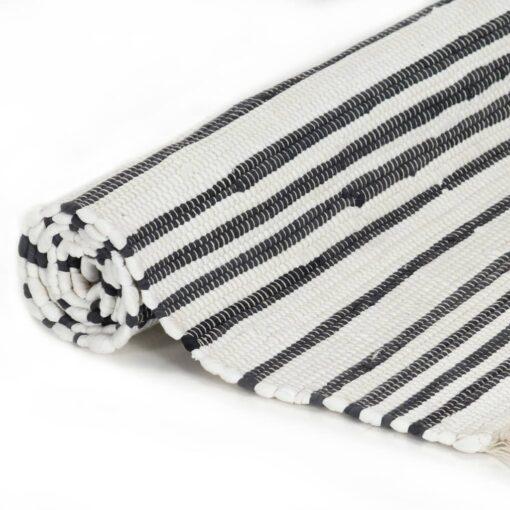 vidaXL håndvævet chindi-tæppe bomuld 160 x 230 cm antracitgrå og hvid