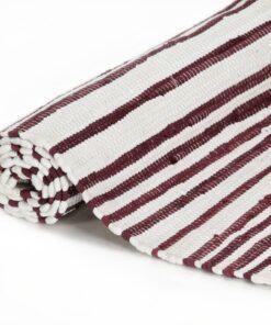 vidaXL håndvævet chindi-tæppe bomuld 80 x 160 cm bordeaux og hvid