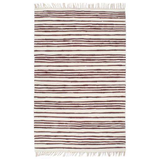 vidaXL håndvævet chindi-tæppe bomuld 200 x 290 cm bordeaux og hvid