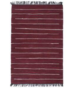 vidaXL håndvævet chindi-tæppe bomuld 120 x 170 cm bordeauxfarvet