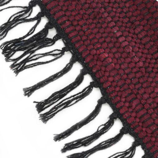 vidaXL håndvævet chindi-tæppe bomuld 160 x 230 cm bordeauxfarvet