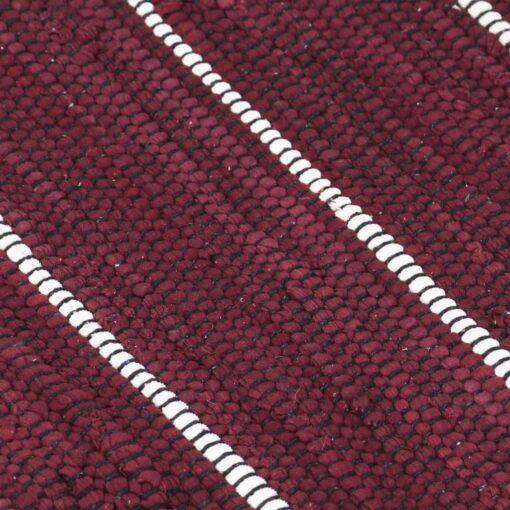 vidaXL håndvævet chindi-tæppe bomuld 200 x 290 cm bordeauxfarvet