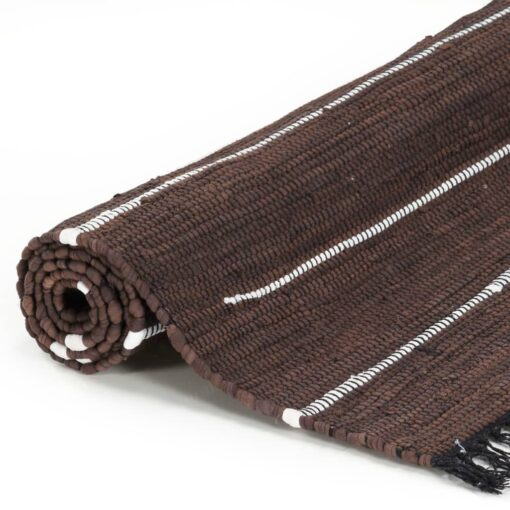 vidaXL håndvævet chindi-tæppe bomuld 80 x 160 cm brun