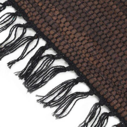 vidaXL håndvævet chindi-tæppe bomuld 120 x 170 cm brun