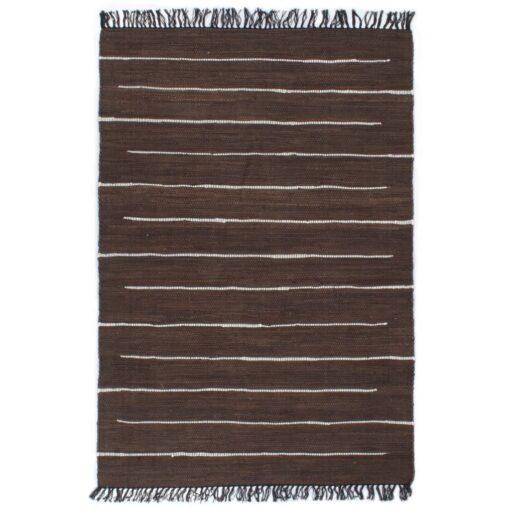 vidaXL håndvævet chindi-tæppe bomuld 160 x 230 cm brun