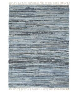 vidaXL håndvævet chindi-tæppe denim 160 x 230 cm blå