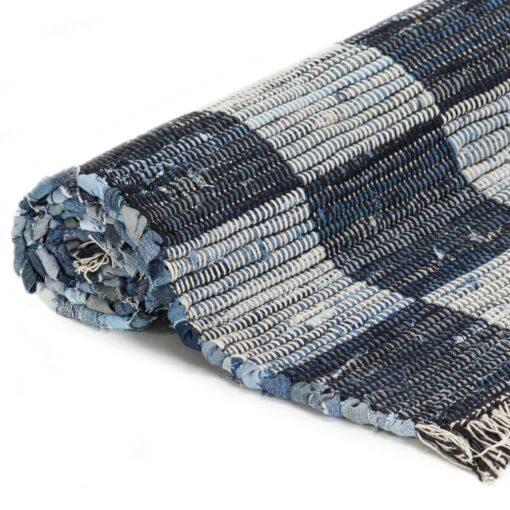 vidaXL håndvævet chindi-tæppe denim 120 x 170 cm blå