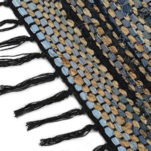 vidaXL håndvævet chindi-tæppe denim jute 160 x 230 cm flerfarvet