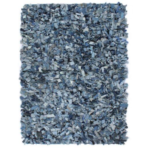 vidaXL shaggy tæppe denim 80 x 160 cm blå