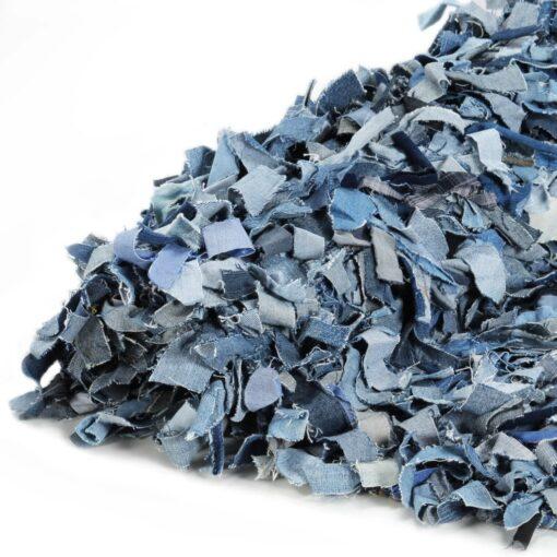 vidaXL shaggy tæppe denim 190 x 280 cm blå