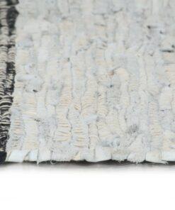 vidaXL håndvævet chindi-tæppe læder 190 x 280 cm lysegrå og sort