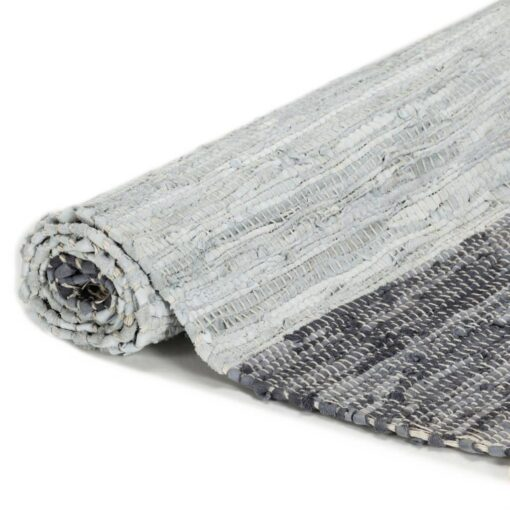 vidaXL håndvævet chindi-tæppe læder 80 x 160 cm grå