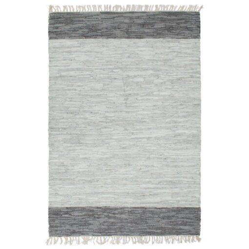 vidaXL håndvævet chindi-tæppe læder 190 x 280 cm grå