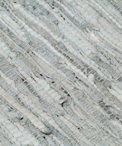 vidaXL håndvævet chindi-tæppe læder 160×230 cm lysegrå og gyldenbrun