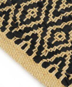 vidaXL håndvævet chindi-tæppe læder bomuld 80 x 160 cm sort
