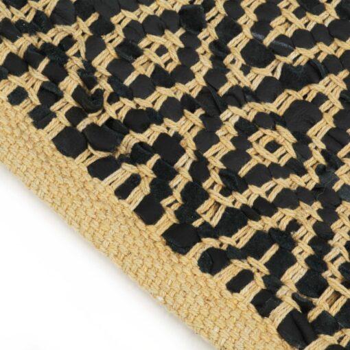 vidaXL håndvævet chindi-tæppe læder bomuld 120 x 170 cm sort