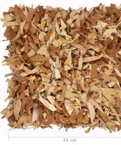 vidaXL puder 2 stk. pjusket gyldenbrun 45 x 45 cm læder og bomuld
