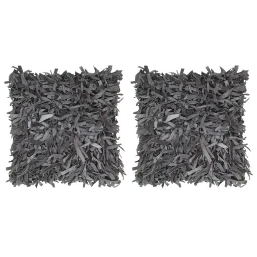 vidaXL puder 2 stk. pjusket grå 45 x 45 cm læder og bomuld
