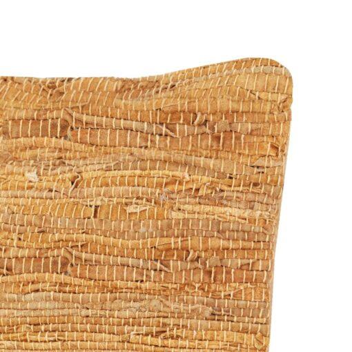 vidaXL pude chindi gyldenbrun 60 x 60 cm læder og bomuld